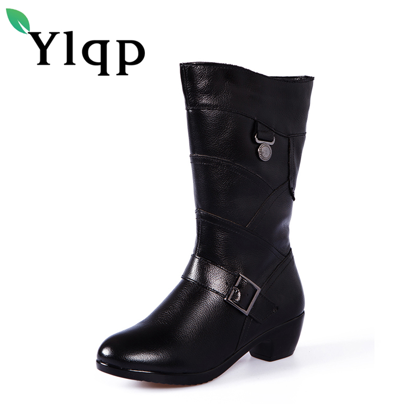 Ylqp 2017 New Winter Boots Genuine Leather Shoes Ladies Thick Warm Cotton Thigh High Boots Female Sapato Feminino Botas Mujer skullies beanies the new russian leather thick warm casual fashion female grass hat 93022