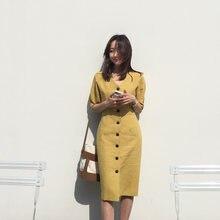 e4a167a11c new Summer Dress Women Cotton Linen OL Casual half Sleeve Dresses Female  Dress V neck Solid yellow dress Boho Robe Femme Vestido