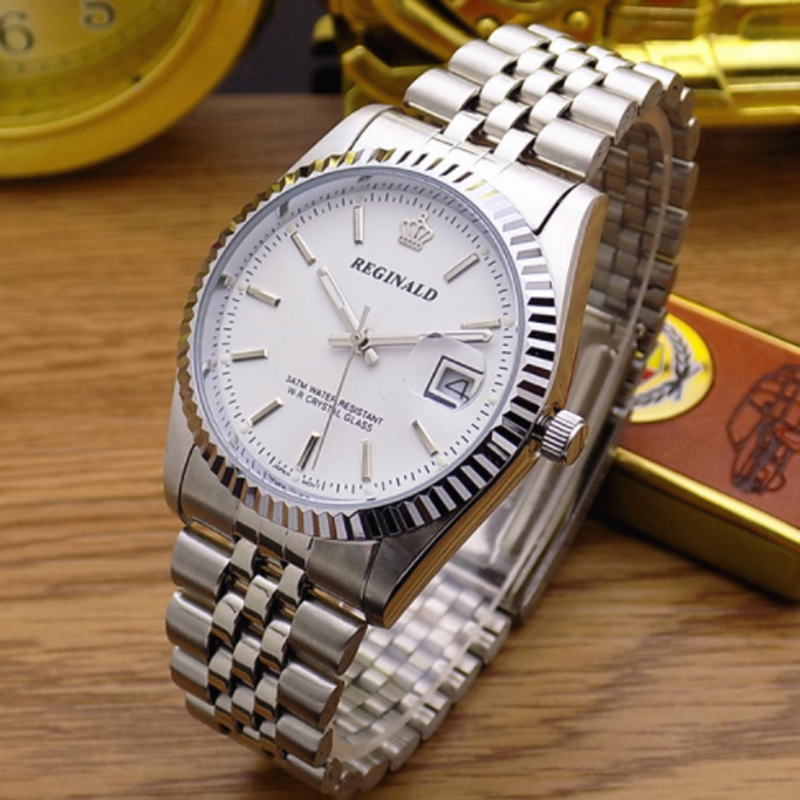 Fashion Top Brand Reginald Waterproof Men Lady Lovers Full Stainless Steel With Calendar Clock Dress Business Gift Wrist Watch
