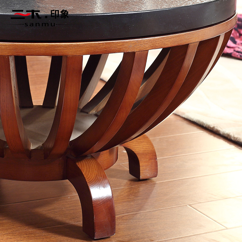 Asian wood coffee table corner a few high end casual round ...