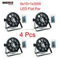 4 Pcs Fast Shipping LED Fat Par 9X10W+1X30W Led Light Wireless Remote Control RGB 3IN1 LED Stage Light DJ Light DMX Led Lamp