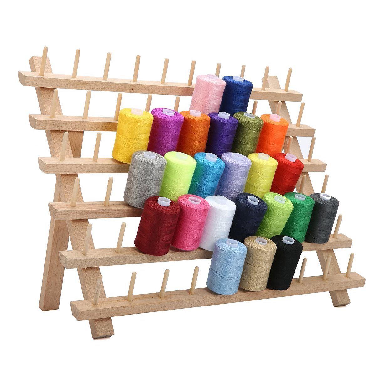 Quilting Embroidery Hair-braiding 60 Spool Sewing Embroidery Thread Holder Organizer for Sewing SOONHUA Wooden Thread Rack