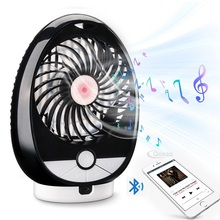 Qosea Mini Bluetooth Speaker Fan Portable Hand Rechargeable DC 5V Small USB Battery 3 Mode Speed Regulation