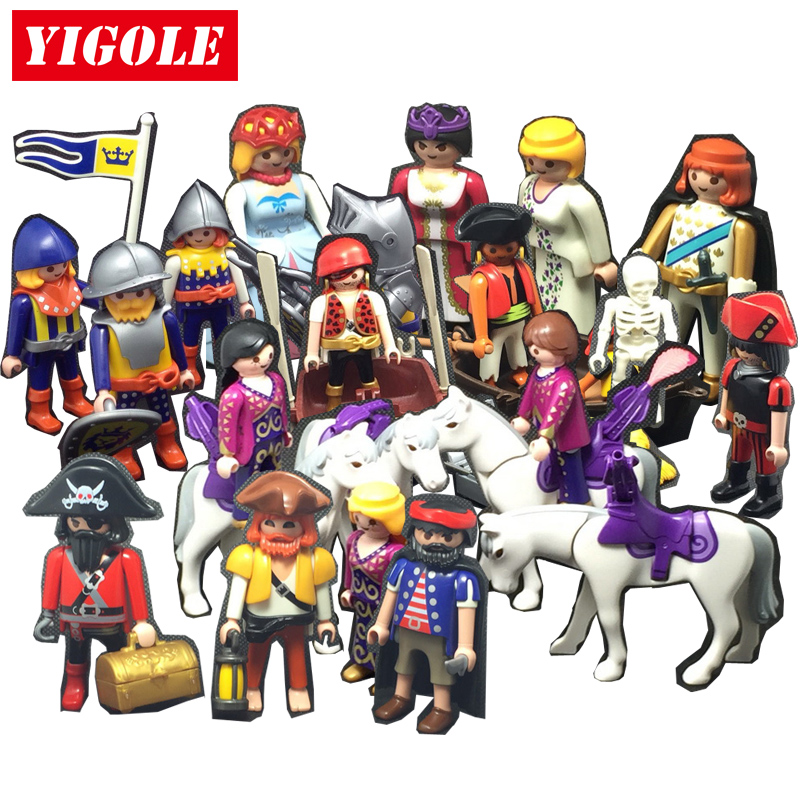 Playmobil Princess Castle Knights Pirate Action Figures Toy Set Models Kids Toys Gift 48pcs lot action figures toy stikeez sucker kids silicon toys minifigures capsule children gift