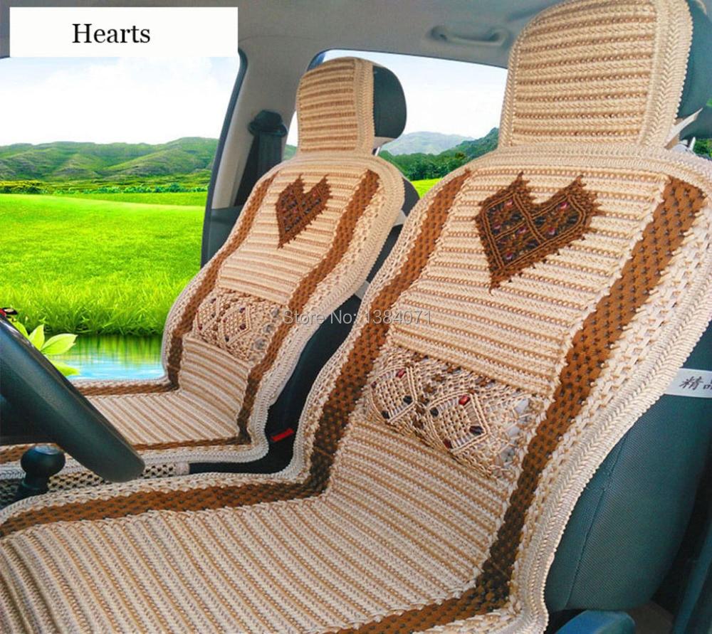 ФОТО  Ice Silk Weaving Flower Ice Silk Universal Car Seat Cover,four Seasons Universal Car seat cover