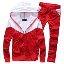 New 2017 Men's Fashion Leisure Hitting Scene Hoodie and Motion Pants Male Splicing Slim Casual Sweatshirts Jacket and Trousers