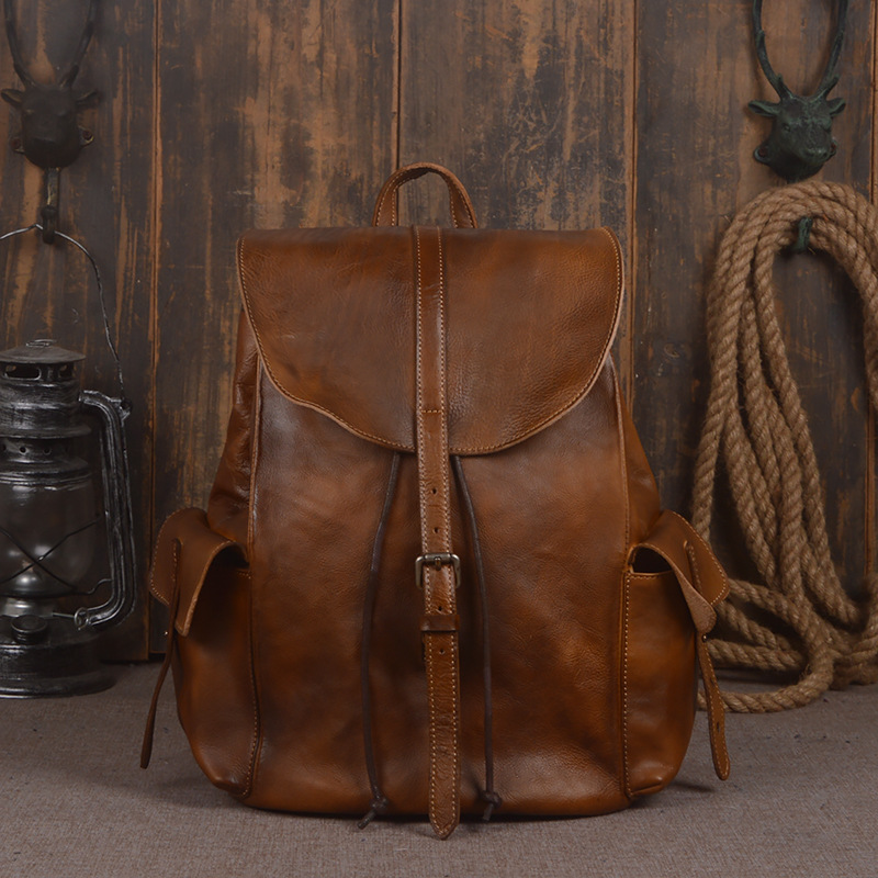 font b Women b font Backpack Genuine Leather Vintage Coffe Men s Solid Large Capacity