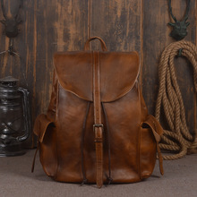 Women Backpack Genuine Leather Vintage Coffe Men's Solid Large Capacity Soft First Layer Cowhide Bag 14 Inches Tablet Computer