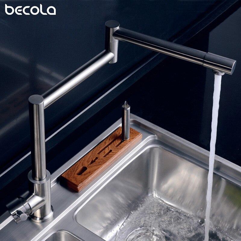 Robinet de cuisine 720 degrés pivotant en acier inoxydable évier robinet universel mitigeur chaud et froid robinet de Bar pliant