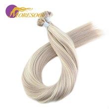 Moresoo прямой Fusion Кератиновый плоский кончик машина сделанная Remy человеческие волосы для наращивания 1,0 г/локон 50 г/упак