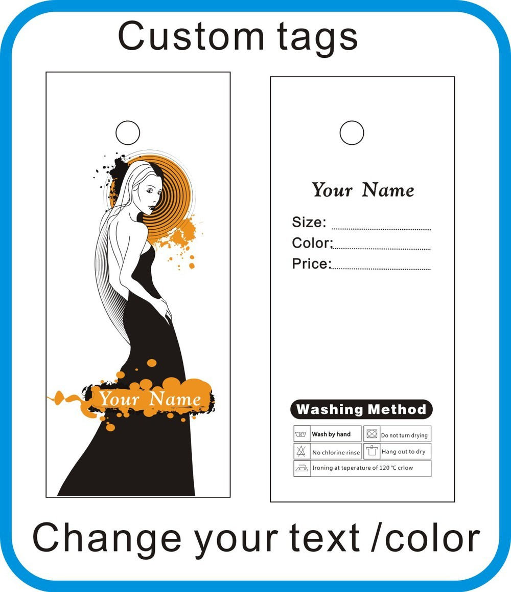 Beautiful lady tags custom hang tags / clothes tags/shoes tags change your barnd name N3
