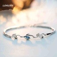 Hoge qualit 925 Sterling zilveren armband vrouwelijke blue crystal sieraden fashion retro leuke flash vrouwen sieraden mode blad vrouwelijke