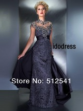 TOP-Grade Evening Dresses new fashion 2013 Sexy Open Back Sheath Jewel Satin Lace Sleeveless Beads MK08L28