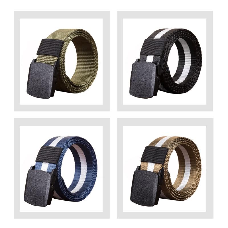 Casual Plastic Automatic Buckle Canvas Belts for Men Military Tactical Belt Designer Belts Men High Quality Male Strap 110cm