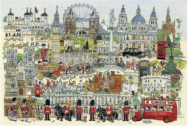 Free Shipping ! London Town Jigsaw Paper Puzzle 1000 Pieces With Drawing Guideline and Glue
