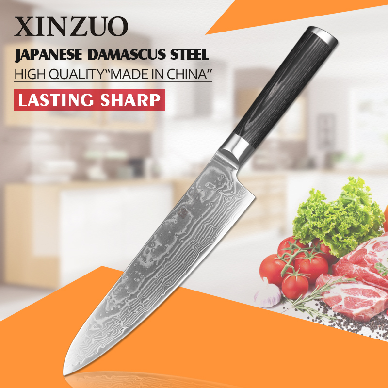 XINZUO 8 inch chef font b knife b font High quality 73 layer Japanese VG10 Damascus