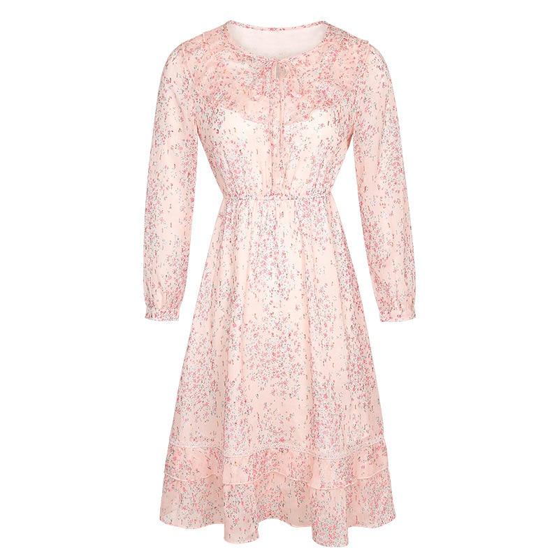 Automne Fleur Élégante De Nouveau Robes Printemps Rose Impression Robe Mousseline Mode En 2018 Femmes Mignon Soie U5fwqH
