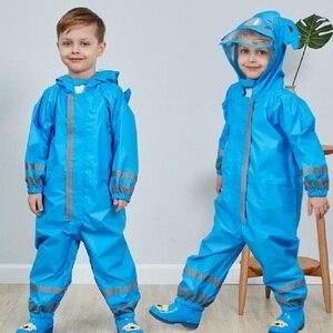 Image 2 - Winstbrok子供レインコートレインパンツ子供漫画防水レインウェア少女と少年ポンチョ不浸透性レインコート雨ジャンプスーツ
