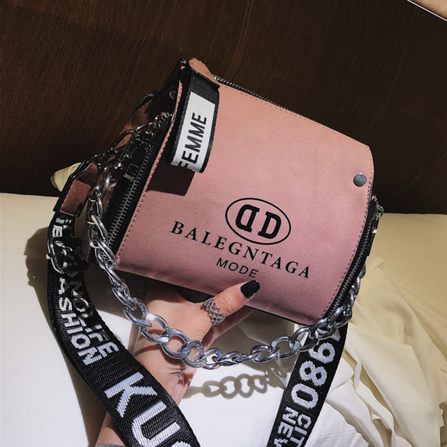 Barrel Shaped Thick Chain Design Bucket Shoulder Bag with Letter Wide Strap Fashion Scrub PU Leather Crossbody Messenger Bags