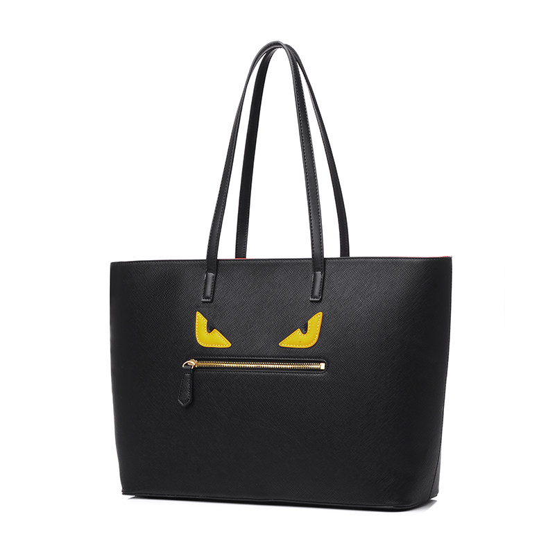 Stylish Little Monster Tote Bag Women Embossed PU Leather font b Handbag b font Cartoon Hand