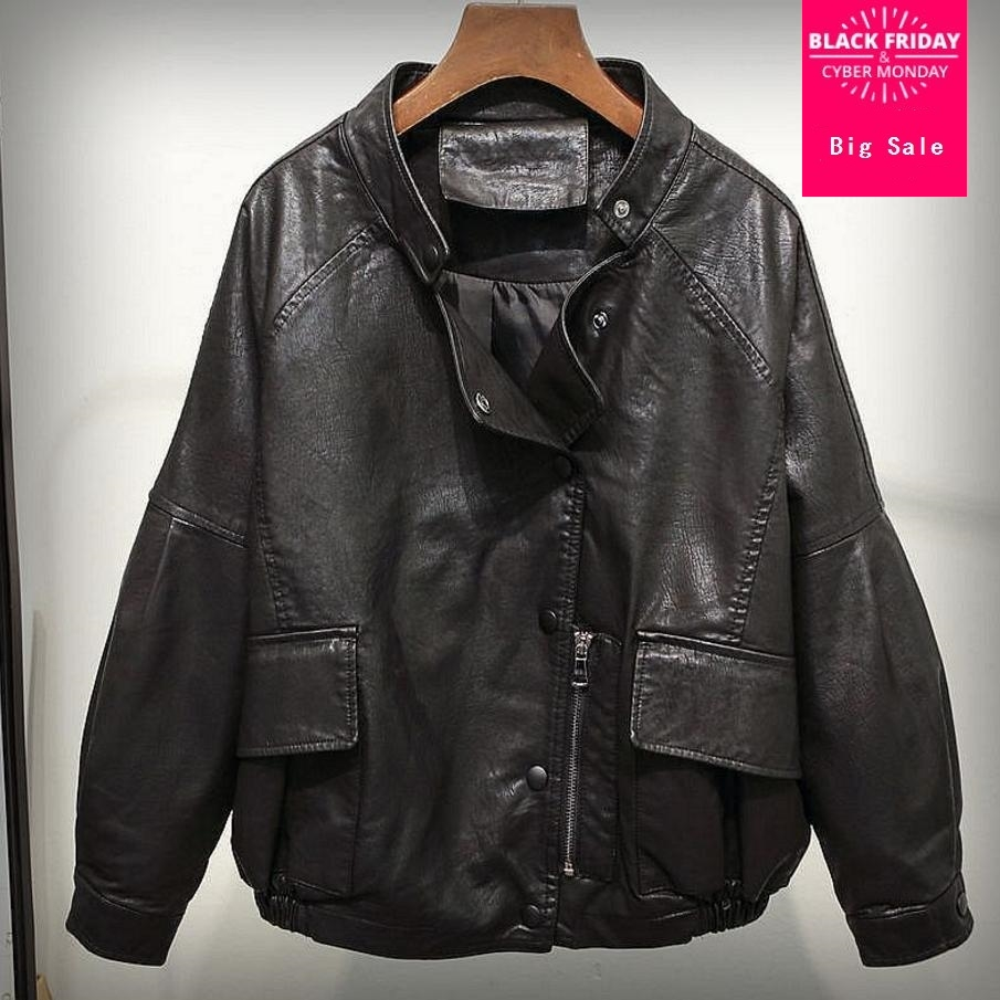 2018 spring new ladies   leather   jacket Korean women's   leather   coat motorcycle PU   leather   short paragraph outwear L796 Wholesale