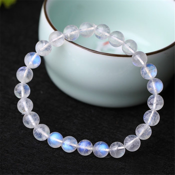 8mm Genuine Rainbow Lights Natural Moonstone Bracelets For Women Lady Stretch Crystal Round Bead Bracelet AAAAA Drop Shipping
