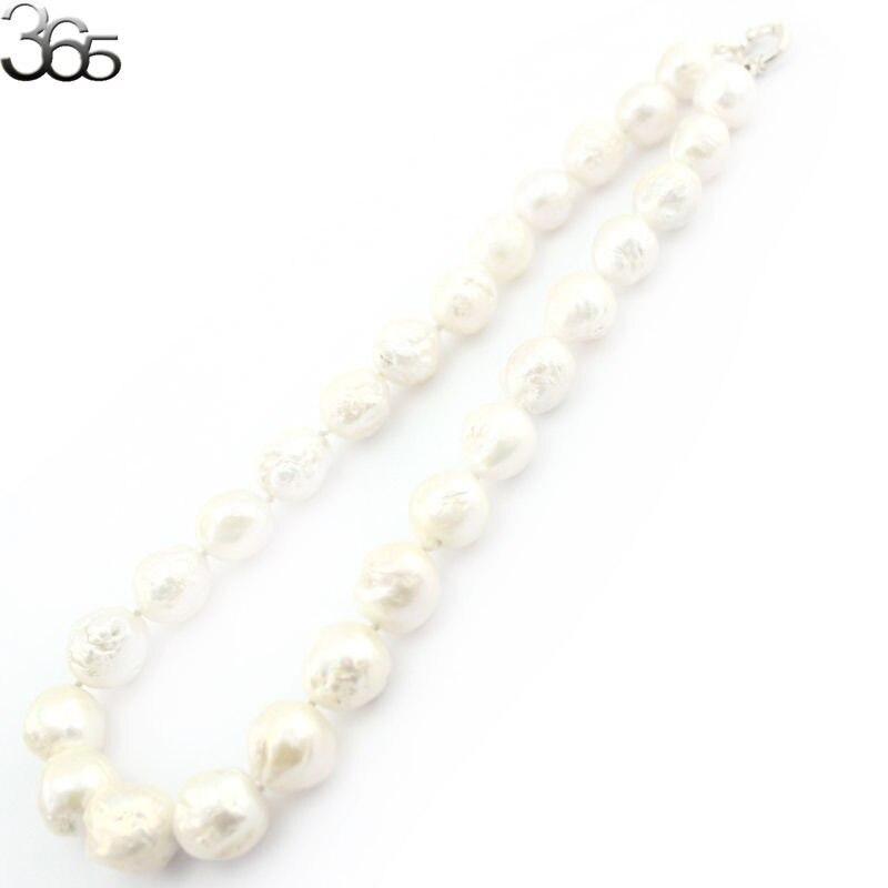 Livraison gratuite joli bijoux de mariage blanc presque rond Edsion perle d'eau douce S925 argent noeud bijoux collier 18