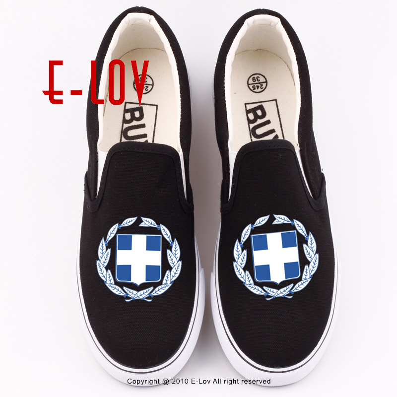 E-LOV Hot Sale Printing Greece Hellenic Canvas Shoes Casual Women Grecian Hellenes Letters Printed Shoe Greek Flat Loafers e lov women casual walking shoes graffiti aries horoscope canvas shoe low top flat oxford shoes for couples lovers