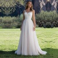 Spaghetti Straps A Line Lace Wedding Dress 2019 V Neck Backless Tulle Bridal Dress Sweep Train Wedding Gowns vestidos de noiva