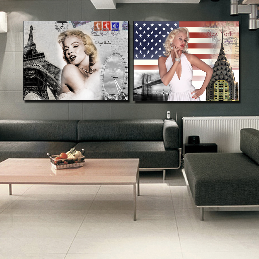 2 Panel Marilyn Monroe Painting Pop Art Paintings Canvas Wall Decor American New York Paris