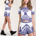 Vintage 2 piece Set Women Porcelain Print Shorts and  2016 Summer Style Elastic Waist Pockets Pants Twin Women's Set Blue