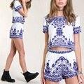 Vintage 2 unidades Set mujeres porcelana imprimir pantalones cortos y 2016 del estilo del verano bolsillos elásticos de la cintura pantalones Twin mujeres Set azul