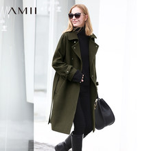 Amii Minimalist Women Woolen Jacket 2018 Office Rivets Solid Wool Belt Elegant Female Woolen Coat Black Khaki Long Jacket(China)