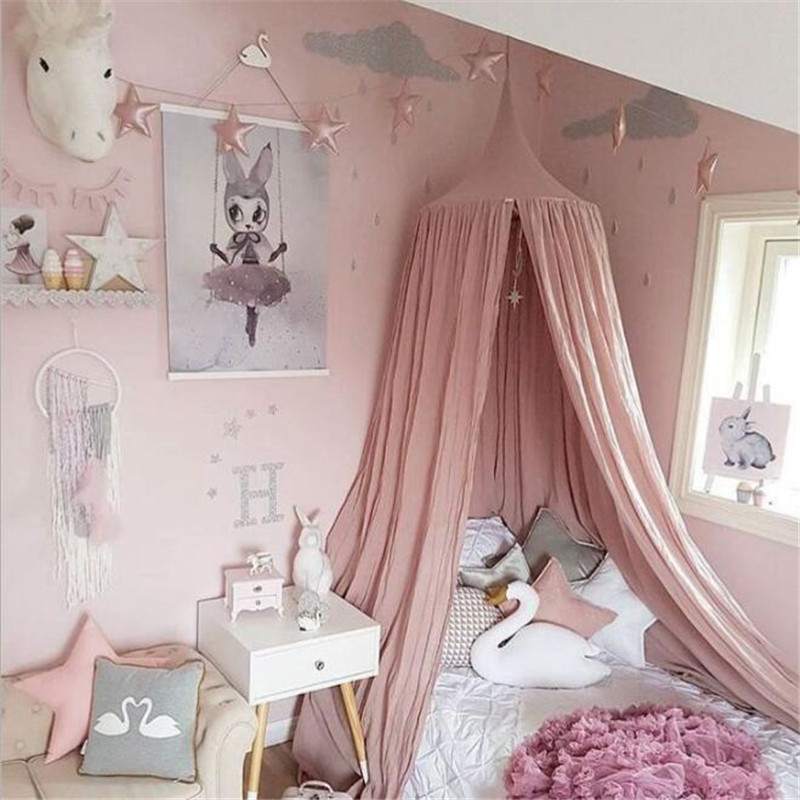 Kids Boys Girls Princess Canopy Bed Valance Beige White Grey Pink baby Room Decoration child Bed Round Mosquito Net Tent Curtain baby bed canopy without bottom portable folding baby bed mosquito net children mosquito tent 65 115cm kids outdoor camping tent