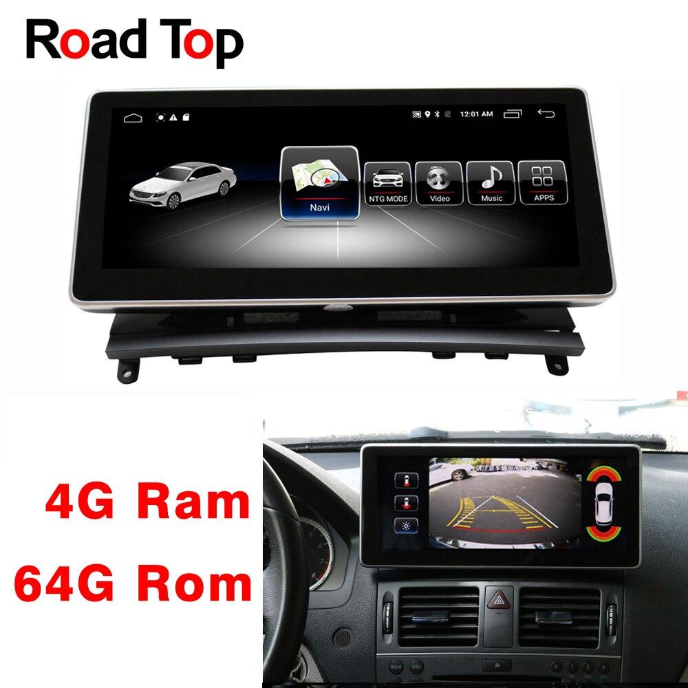 Android 8,1 Octa 8-Core 4 + 64G coche Radio GPS navegación Bluetooth WiFi cabeza unidad pantalla para mercedes-Benz Clase C W204 2008-2010