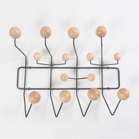 Wall Clothes Hanger Hat Frame with Solid Wood Ball Wall Hanging Hook and Coarse Metal Simple Hat Frame