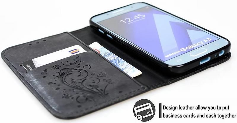 HTB1bD6cRhjaK1RjSZFAq6zdLFXaI Flip Wallet Leather Case for Samsung Galaxy A7 2017 A5 A3 Cover Embossed Flip Book Cases for Samsung A5 A3 2016 A310 A510 Bag
