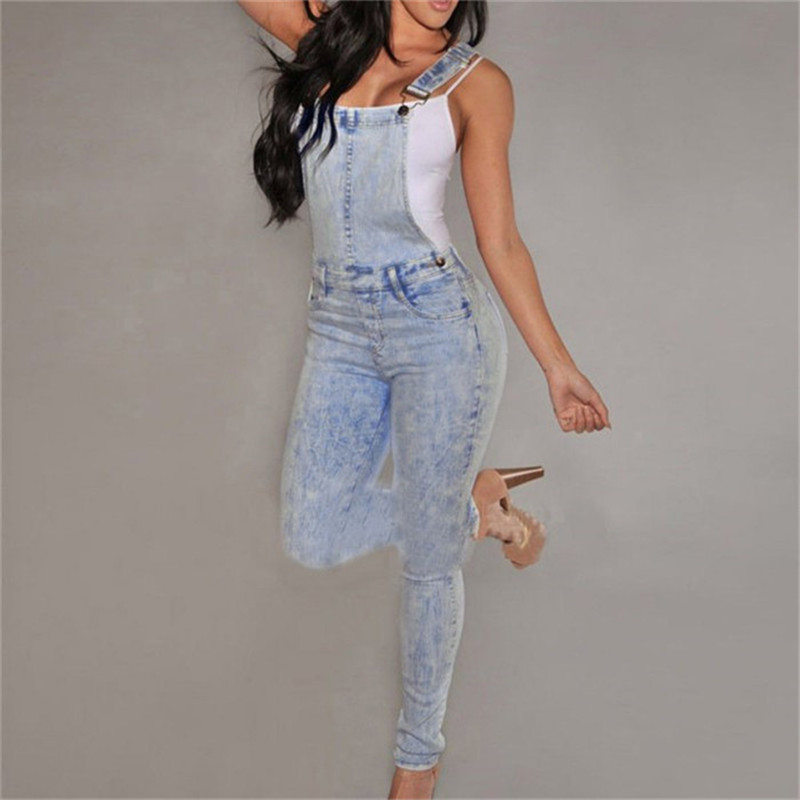 Women High Waisted Denim Jeans Overalls Girls Casual Skinny Stretchy Washed Jeans Pants