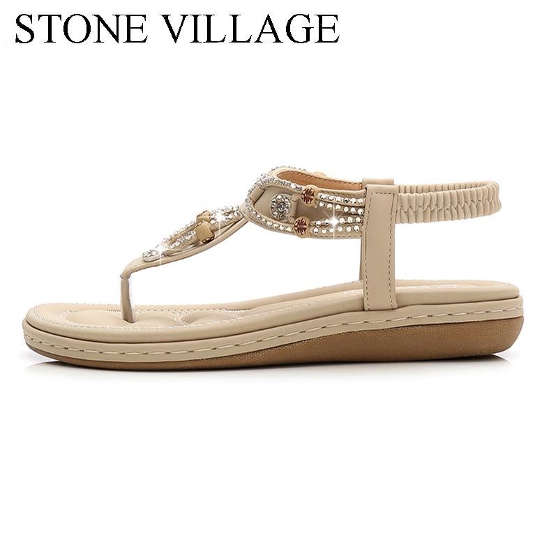 Women Sandals 2020 Flat Summer Women Sandals Crystal Bohemia Ethnic Flat Sandals Flip Flops Casual String Bead Beach Shoes Woman 3