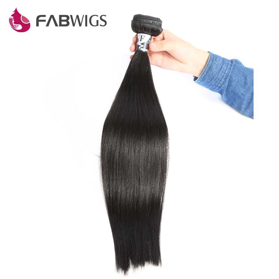 Fabwigs Peruvian Straight Human Hair Bundles 100% Human Remy Hair Weave Bundles Extensions Double Weft 3/4 Bundles are Available ...