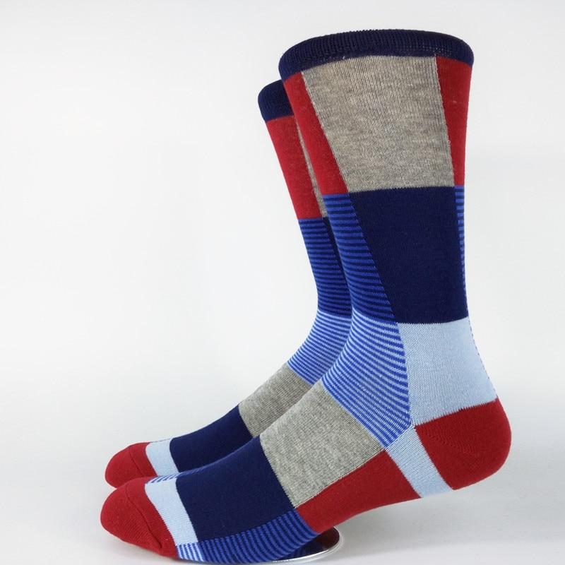 Mens Colorful Blocks Casual Dress Socks USA Size 9-11,Euro Size 42-44