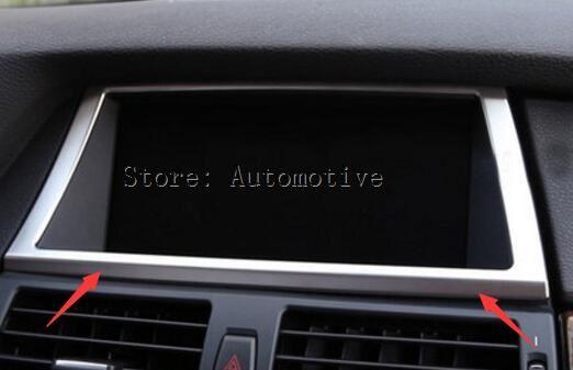 Accessoires pour BMW X5 E70 2009-2013/X6 E71 panneau de commande de Navigation en acier inoxydable garniture de cadre décoratif