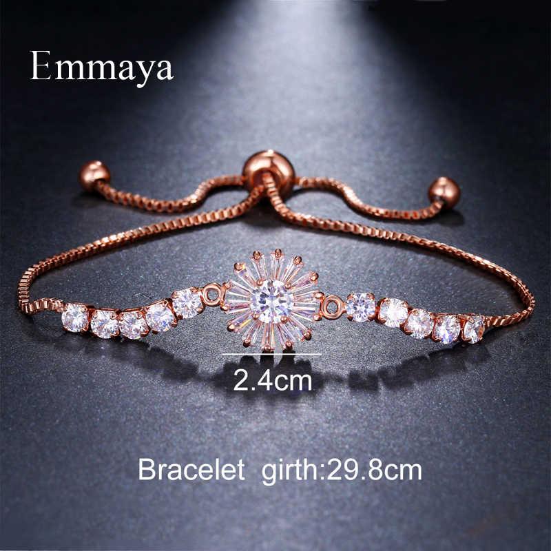 Emmaya מותג פשוט אלגנטיות שני צבעים AAA זירקון מתכוונן פתית שלג קריסטל צמידים לנשים זול תכשיטי חתונה מתנה