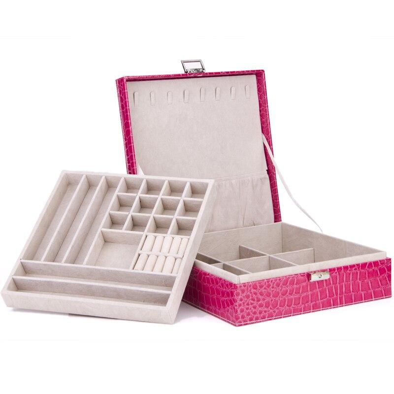 Produits de qualité boîte à bijoux 2 couches grand espace collier cintres PU bijoux en cuir affiche des cas