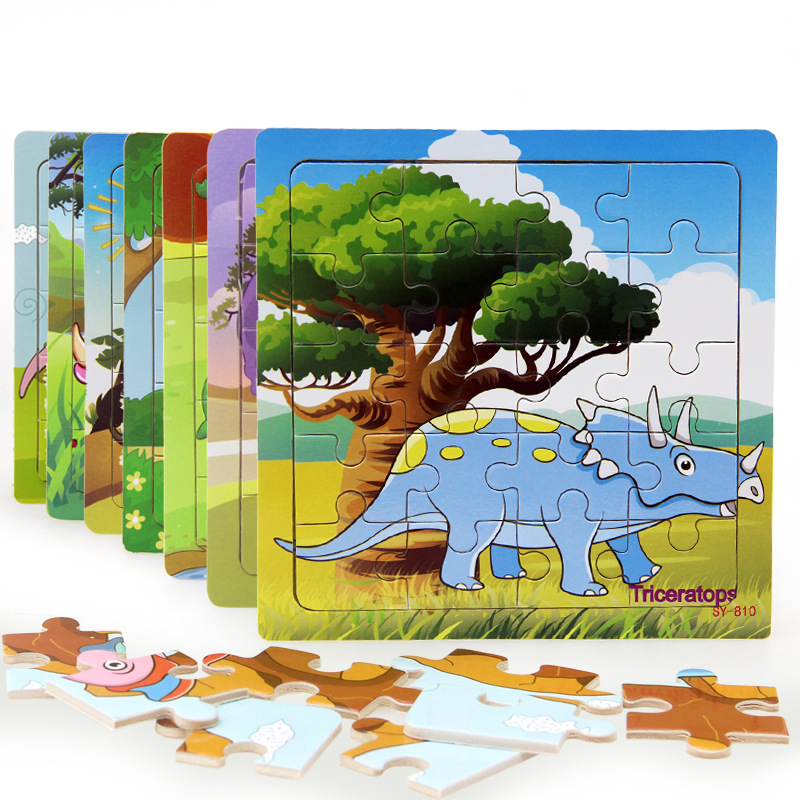 Baby Cognition Puzzle Wooden Toys For Kids Dinosaur Small Piece Jigsaw Educational Learning Toys For Children Gift