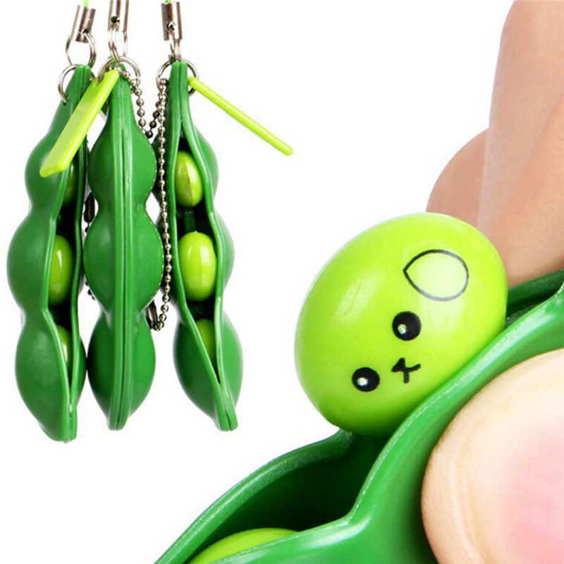 Mskwee Funny Green Beans Mini Squishy Soft Toys Pendants Anti Stress Ball Squeeze Funny Gadgets Phone Straps