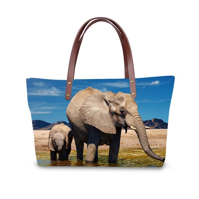 Elephant Print Las Handbag Women Lovely Note Pattern Handbags Messenger Bag Purse