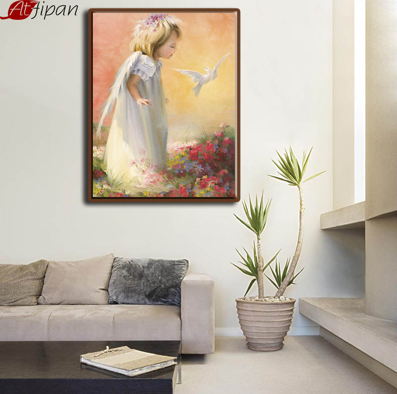 Atfipan DIY Digital Angel Girl Hand Painted Painting By Numbers White Bird Peace Scenery Poster Living Room Wall Art Decoration