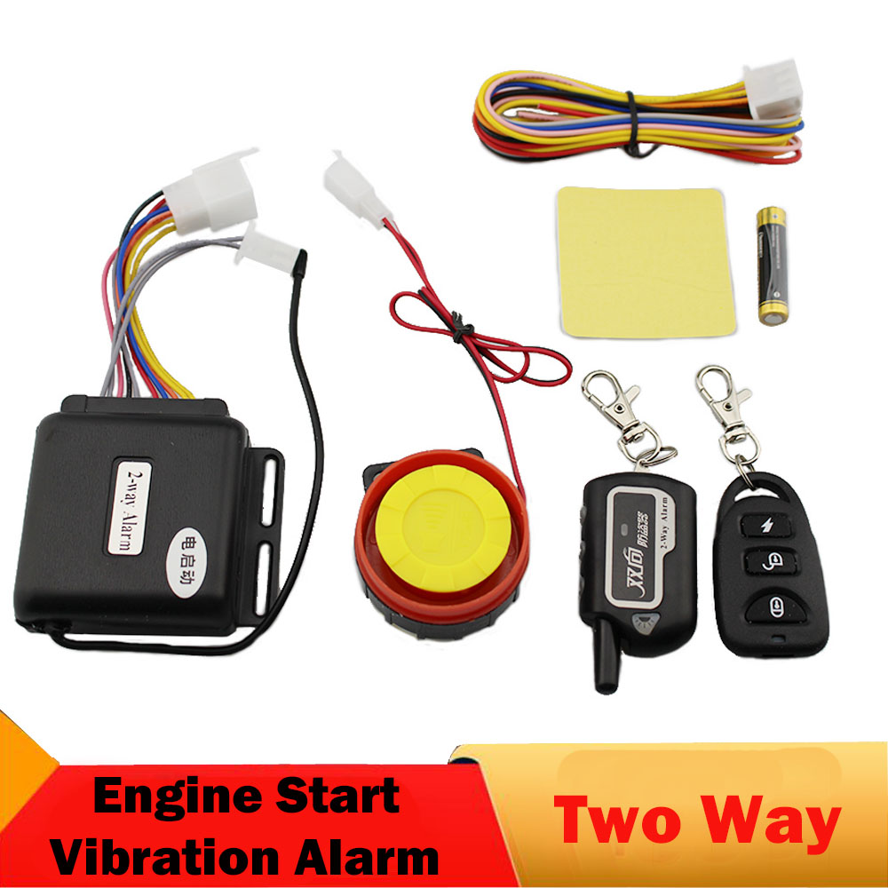 цена Two 2 Way Motorcycle Alarm System Remote Control Vibration Alarm Theft Protection Moto Scooter Motor Security Alarm Engine Start