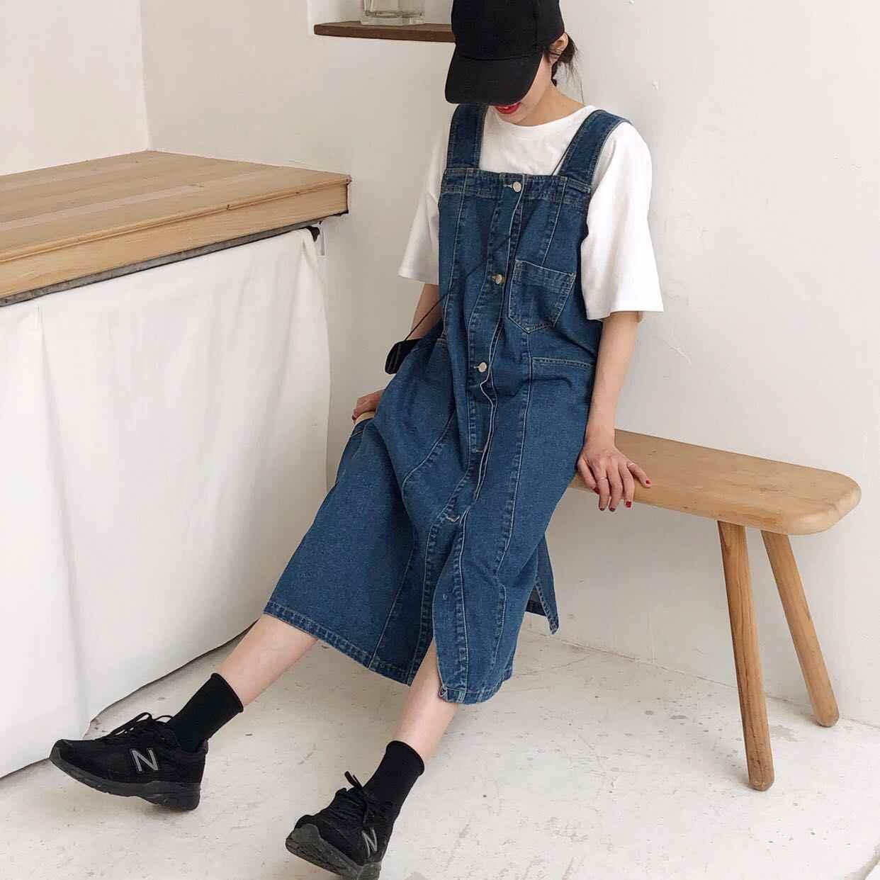 SuperAen/модные женские комплекты; Новинка 2019 года; летняя Однотонная футболка с короткими рукавами; повседневное джинсовое платье без рукавов